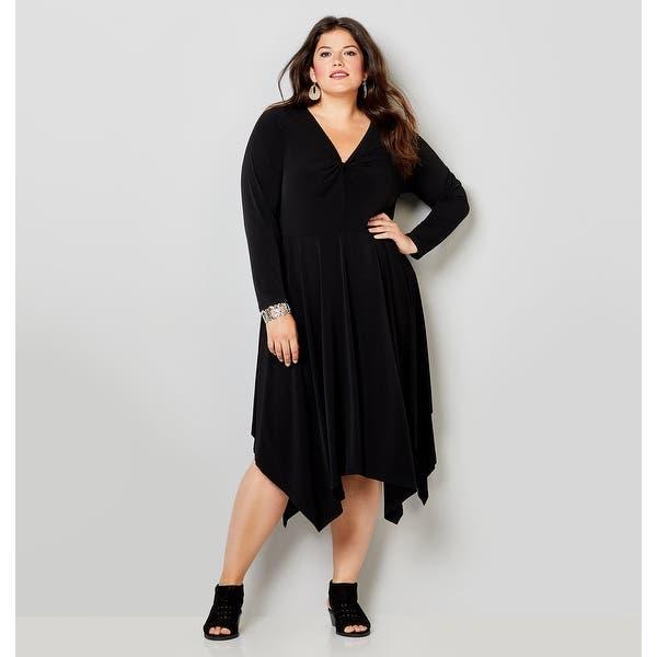 AVENUE Women\'s Twisted V-Neck Dress with Handkerchief Hem - Black