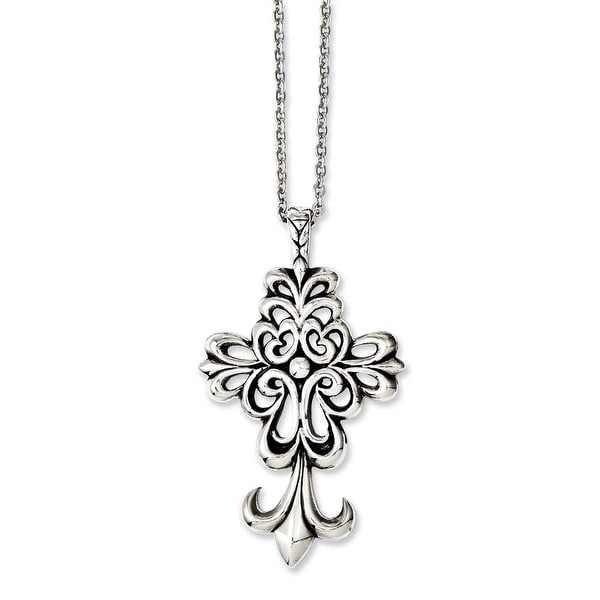 Chisel Stainless Steel Antiqued & Polished Cross 24in Necklace (2 mm) - 24 in