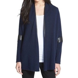 Nordstrom NEW Blue Women's Size Medium M Cardigan Cashmere Leather Sweater