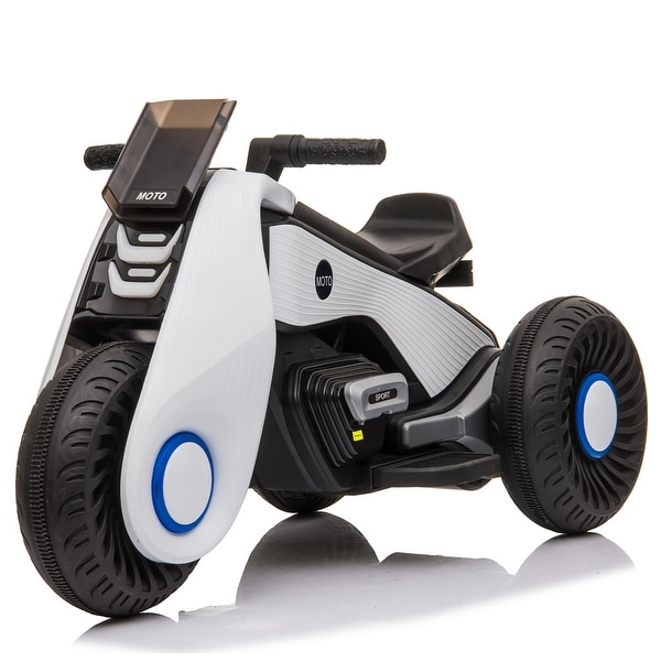 """Children's Electric Motorcycle 3 Wheels Double Drive White cool - 7'6"""" x 9'6"""". Opens flyout."""