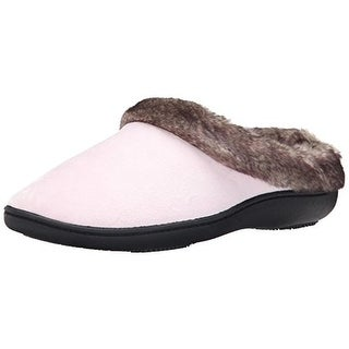 Isotoner Womens Velour Faux Fur Slip-On Slippers