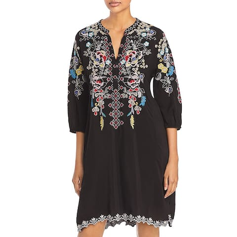 Johnny Was Womens Black Multi Colored Embroidered Nola Shift Dress Casual Knee Length