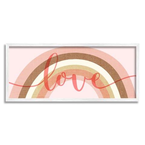 Stupell Industries Love Sentiment over Pink Desert Tone Rainbow Framed Wall Art