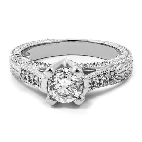 1.35 CT Antique Cathedral Round Cut Diamond Engagement Ring in 14KT - White H-I