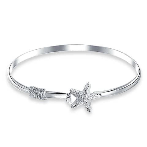 Nautical Starfish Tropical Beach Bangle Bracelet For Women Polished 925 Sterling Silver Eye Hook Clasp