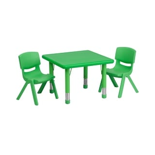 Offex 24'' Square Adjustable Green Plastic Activity Table Set with 2 School Stack Chairs