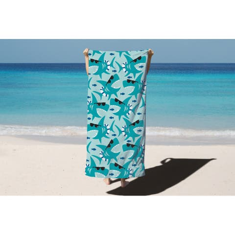Arkwright 100% Cotton Velour Printed Beach Towel - Oceanic designs - 30 x 60 in