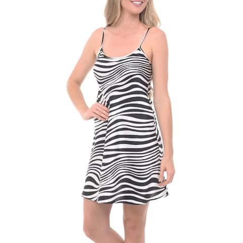 Del Rossa Womens Satin Animal Print Nightgown, Long Camisole Chemise - Black and White Zebra
