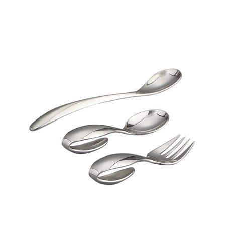 Nambe Baby Stainless Steel Feeding Set with Loop Spoon, Loop Fork and Feeding Spoon