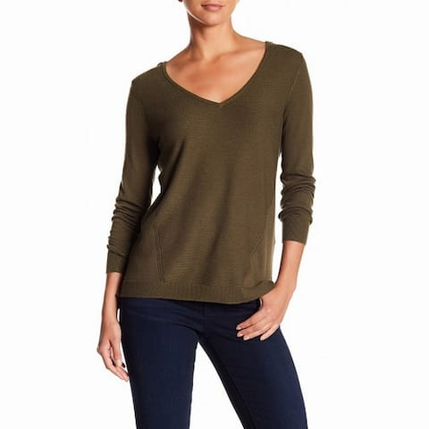 NYDJ Green Womens Size XS Ribbed V-Neck Long Sleeve Knit Sweater
