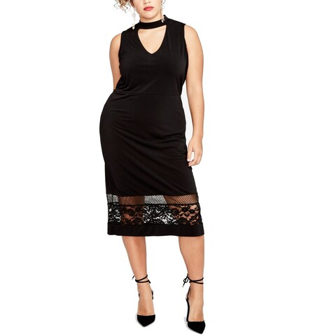 Rachel Roy Rich Womens Plus Lace Trim Sheath Dress