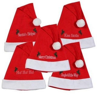 Set of 5 Christmas Felt Santa Hats with Merry Messages, 18""