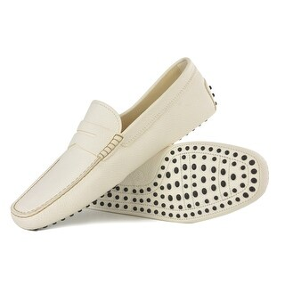 Tod's Men's White Grained Leather Driving Loafers