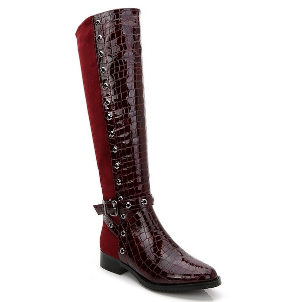 Ann Creek Women's Croc Accent Two Tone Perforated Trim Boots. Opens flyout.