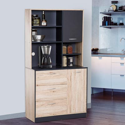 """HOMCOM 67"""" Freestanding Kitchen Cupboard Hutch, 3 Drawers, Cable Management, 4 Cubes, and 2 Cabinets, Oak/Grey"""