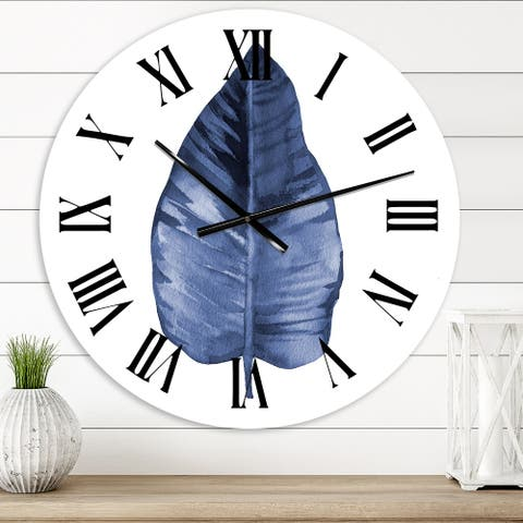 Designart 'Blue Leaf Watercolour On White' Traditional wall clock