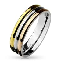 Tri-Color Triple Dome Stainless Steel Ring (Sold Ind.)