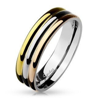 Tri-Color Triple Dome Stainless Steel Ring (Sold Ind.) (More options available)