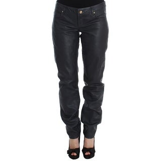 Galliano Galliano Black Leather Loose Fit Pants - w26