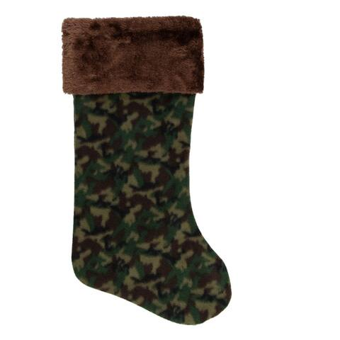 """19"""" Brown and Green Camouflage Christmas Stocking with Brown Cuff"""