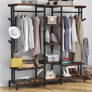 Link to Extra Large Closet Organizer with Hooks Clothes Rack with Shelves and hanging Rod Similar Items in Storage & Organization