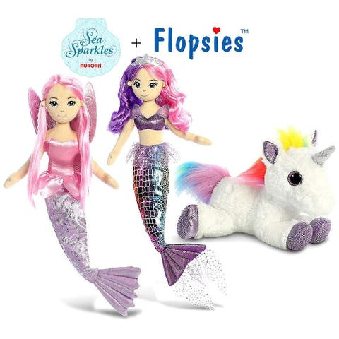 "Aurora 18"" Sea Sparkles Sea Iris and Sea Sparkles Coralina Mermaids and 12"" Flopsie Rainbow Unicorn Plush"