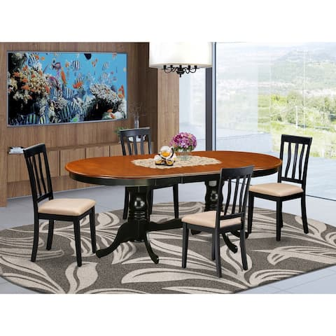 Dining Room Table Set Includes dinette Table and Kitchen Dining Chairs - Black and Cherry Finish (Pieces Option)
