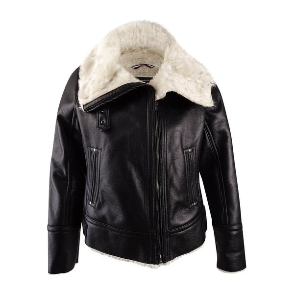68717a8789bdbc Shop Tommy Hilfiger Women s Faux-Fur-Trim Moto Jacket (XL