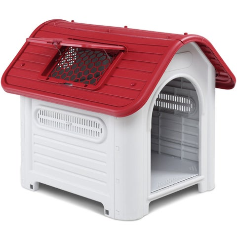 Gymax Plastic Pet Dog House Puppy Shelter Roof Skylight Waterproof Indoor Outdoor Red