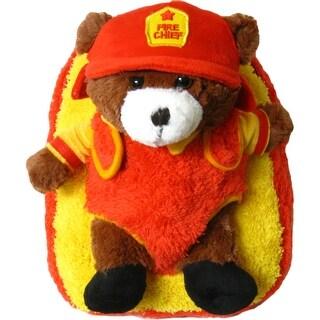 Kreative Kids Unisex Yellow Orange Fire Chief Bear Plush Backpack - One size