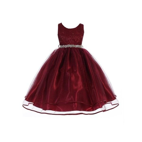 a8870768235d Shop Little Girls Burgundy Sequin Lace Sparkly Mesh Flower Girl ...