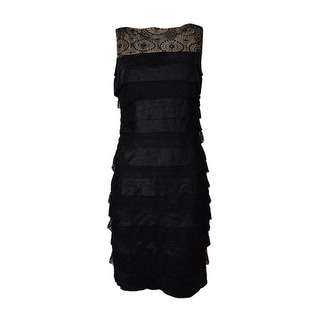 London Times Women's Sleeveless Tiered Sheen Crepe Lace Dress - 12