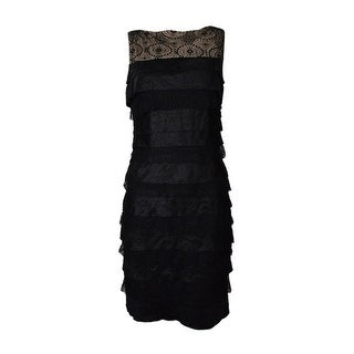 London Times Women's Sleeveless Tiered Sheen Crepe Lace Dress - Black/nude