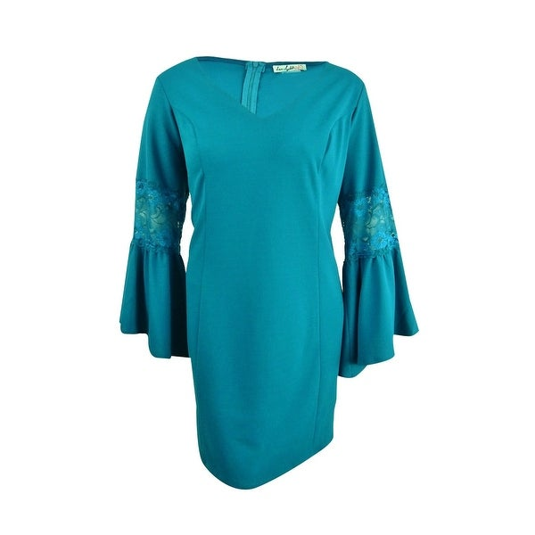 Love Squared Women's Plus Size Bell-Sleeve Dress (3X, Dark Teal) - Dark Teal - 3X