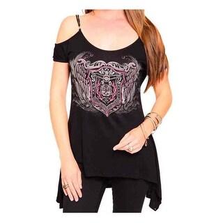 Harley-Davidson Women's Embellished Open Shoulder Short Sleeve Tee, Black