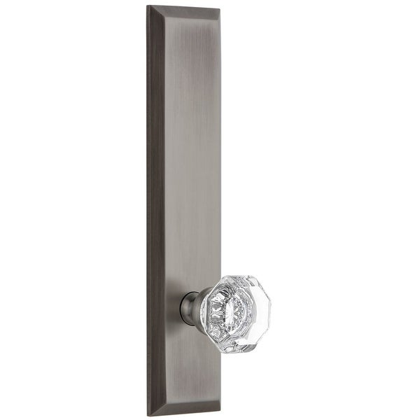 Grandeur FAVCHM_TP_SD_NA Fifth Avenue Solid Brass Rose Tall Plate Single Dummy Door Knob with Chambord Crystal Knob
