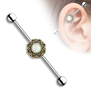 Opal Glitter Center Heart Filigree Surgical Steel Industrial Barbell - 14GA (Sold Ind.) (Option: Yellow)