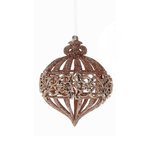 "4.5"" Rich Elegance Decorative Rose Gold and Glitter Onion Christmas Ornament"