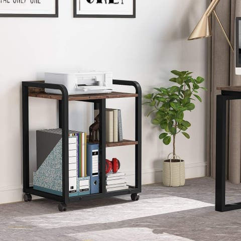 Mobile Printer Stand with Storage Shelves, 3-Shelf Rolling Printer Cart Under Desk