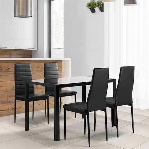 Kitchen Room Tempered Glass Dining Table ,4 Faux Leather Chairs ,Black