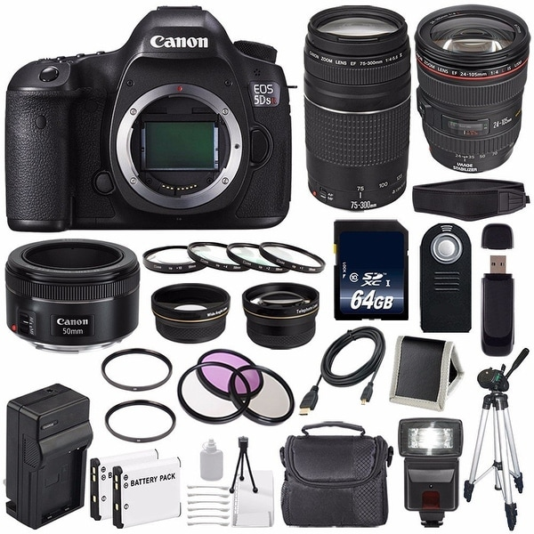Canon EOS 5DS R DSLR Camera (International Model) (0582C002) + Canon EF 24-105mm f/4L IS USM Lens + Charger Bundle