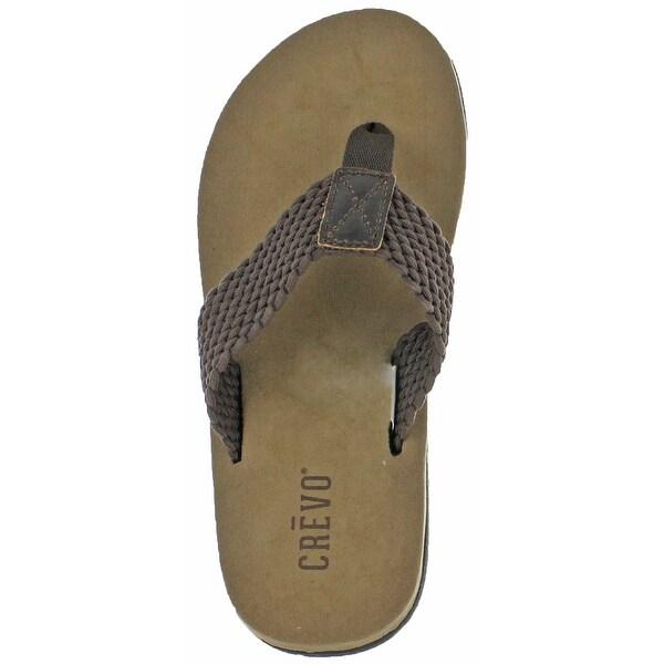 Crevo Calabresas Men's Leather Sandals Flip Flops