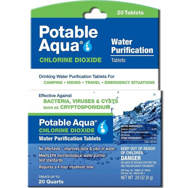 Potable Aqua Water Purification Chlorine Dioxide Tablets - 20 Pack