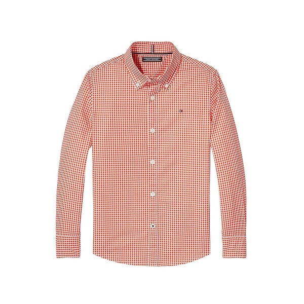 99a43792c2a743 Shop Tommy Hilfiger Orange Mens Size 2XL Gingham Button Down Cotton - Free  Shipping On Orders Over $45 - Overstock - 22309699