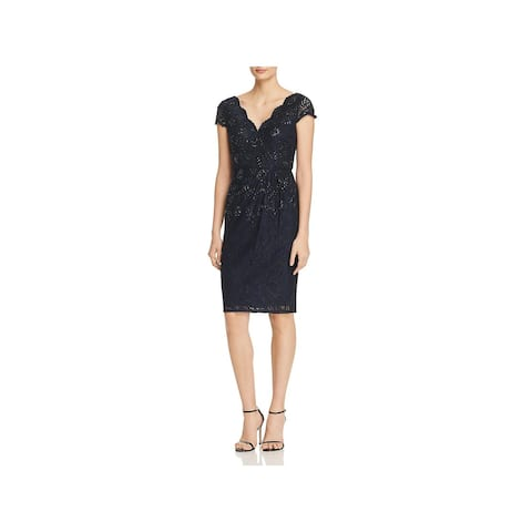 Adrianna Papell Womens Cocktail Dress Lace Sequined