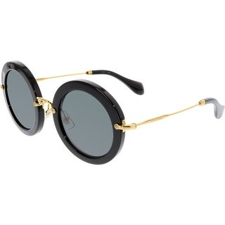 Miu Women's MU13NS-1AB1A1-49 Black Round Sunglasses