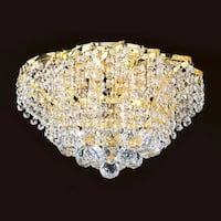 """Worldwide Lighting W33017G16 Empire 3 Light 16"""" Flush Mount Ceiling Fixture in Gold with Clear Crystals"""