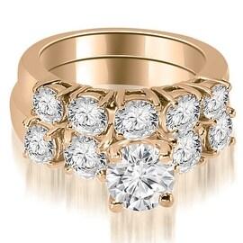 2.15 cttw. 14K Rose Gold Prong Set Round Cut Diamond Bridal Set