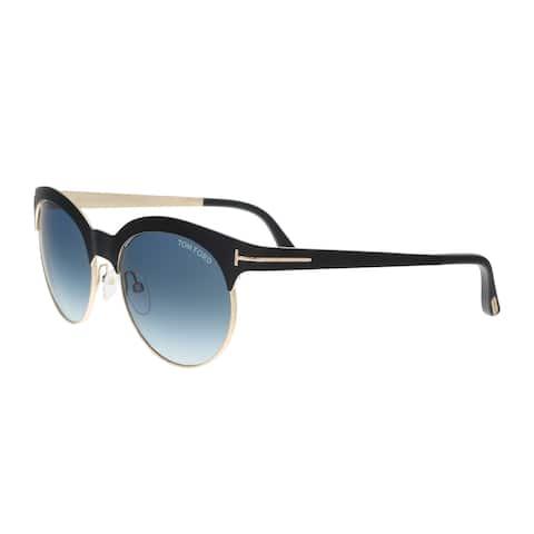 Tom Ford FT0438 5305P ANGELA Black/Gold Round Sunglasses - 53-18-135