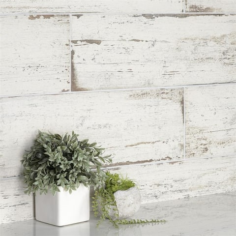 SomerTile 8.25x23.5-inch Lambris Blanc Porcelain Floor and Wall Tile